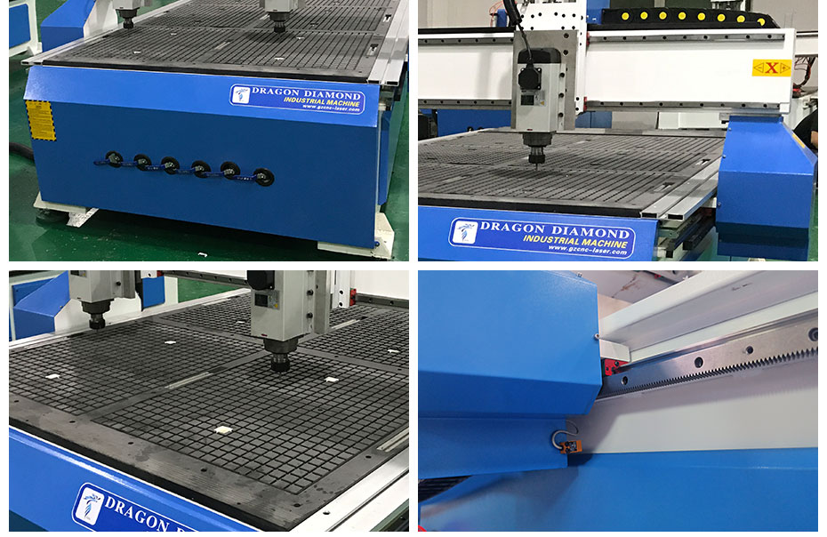 Machine details,vacuum table and Hinwin guide rails ect
