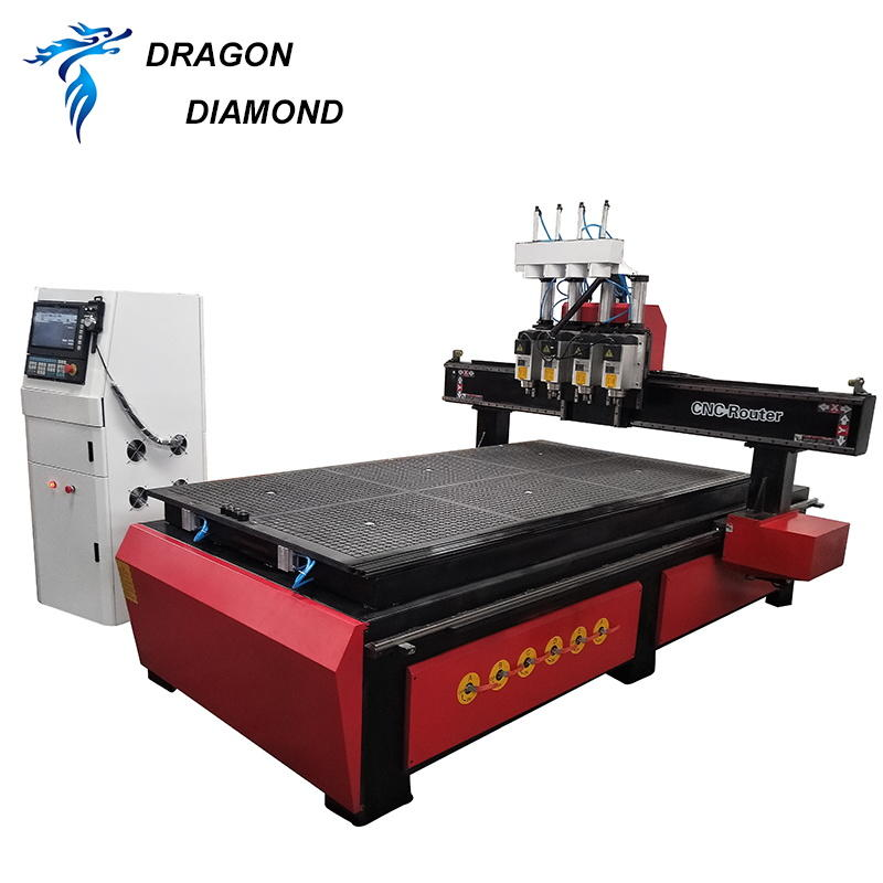 4 Spindle Air Cooled Furniture Wood Relief CNC Machine CNC Router-LZ-1325-4